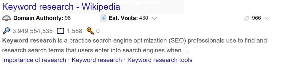 How to sort untapped keywords on wikipedia